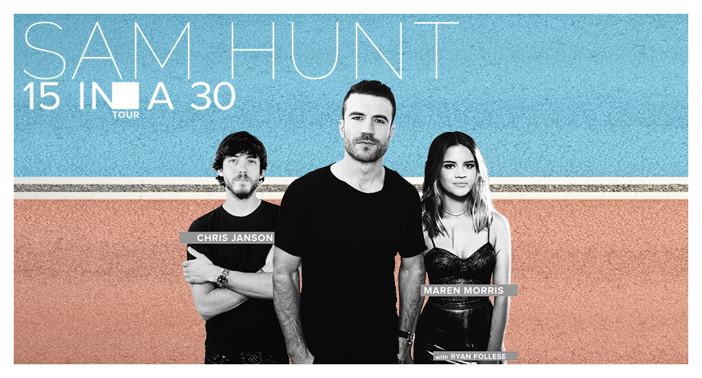 Sam hunt vip experiences sam hunt 15 in a 30 tour 2017 m4hsunfo