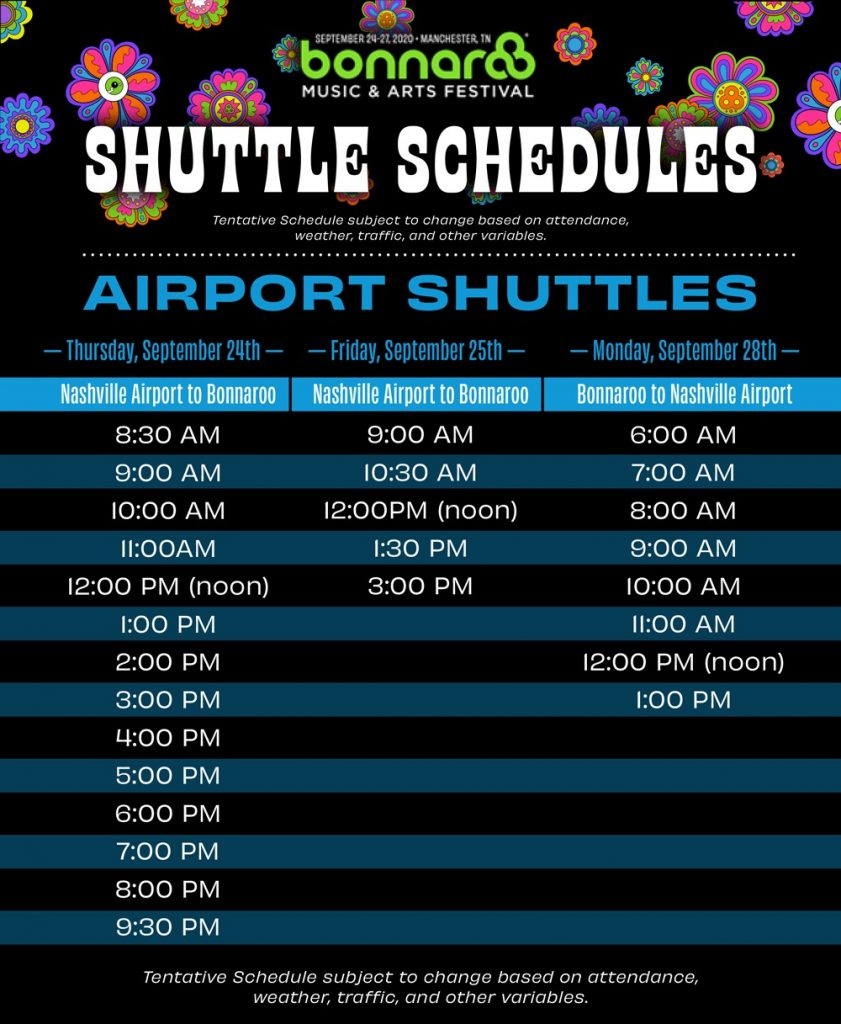 airport shuttle schedule graphic